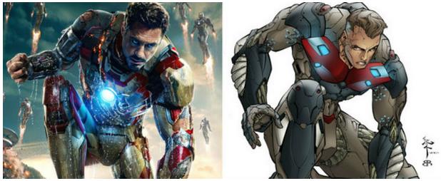 Imagen tomada del sitio http://www.universomarvel.com/ En la que se encuentra gran similitud entre Iron man y Radix