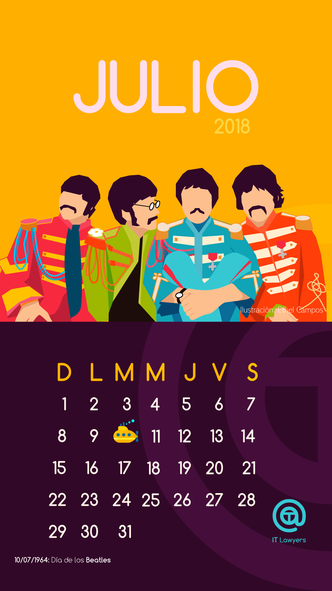 Calendario julio dedicado a los Beatles