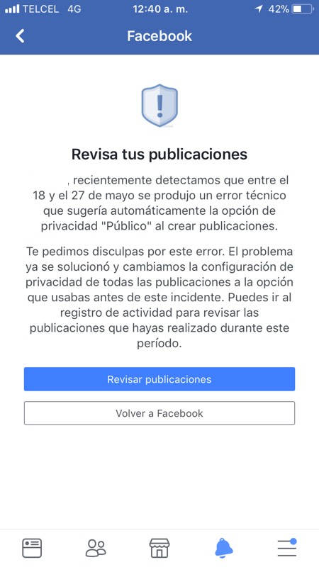 Notificación de error en Facebook