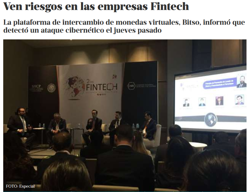 Ven riesgos en las empresas Fintech (El Heraldo de México 09/07/2018)